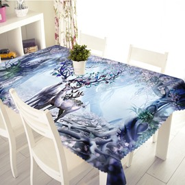 3D Beautiful Couple Sika Deer Printed Thick Polyester Table Cover Cloth