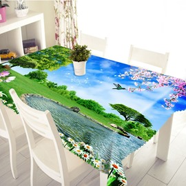 3D Pleasant Landscape Printed Thick Polyester Table Cover Cloth
