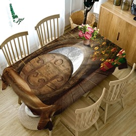 3D Elegant Wood Carving Printed Thick Polyester Table Cover Cloth