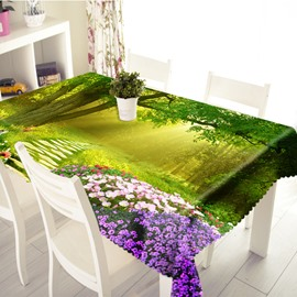 3D Sunlight Filtered through the Trees Printed Thick Polyester Table Cover Cloth