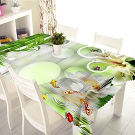 3D Little Fish Swimming in the Bamboo Forest Printed Thick Polyester Table Cover Cloth