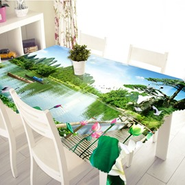 3D Beautiful Landscape Scenery Printed Thick Polyester Table Cover Cloth