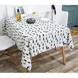 European Style Polyester Printed Technic Plant Pattern Tablecloth Set