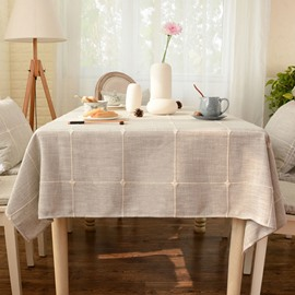 Modern Style Grid Pattern Linen Rectangle Table Cloth