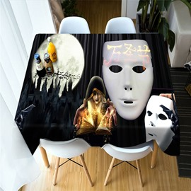 3D Pumpkin & Headstones Halloween Elements Printing Polyester Table Cover Cloth