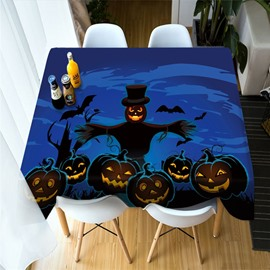 3D Pumpkin Lantern Halloween Printing Polyester Table Cover Cloth