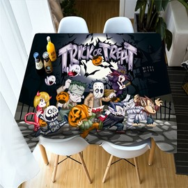 3D Halloween Trick or Treat Printing Polyester Table Cover Cloth