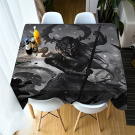 3D Skull and Monsters Fight for Evil Printing Polyester Table Cover Cloth