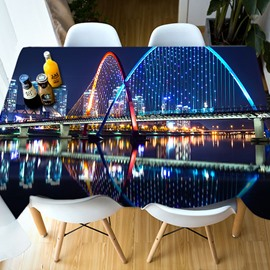 Oilproof Polyester Printed Holiday Decoration 3D Tablecloth