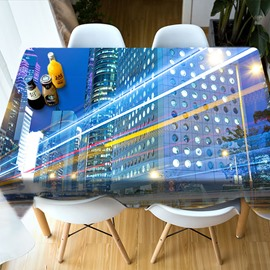 Polyester European Style Oilproof Printed Soft 3D Tablecloth