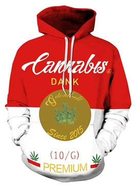 Long Sleeve Cannabis Letters Pattern 3D Painted Hoodie