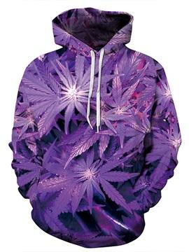 Modern Long Sleeve Purple Leaves Pattern 3D Painted Hoodie