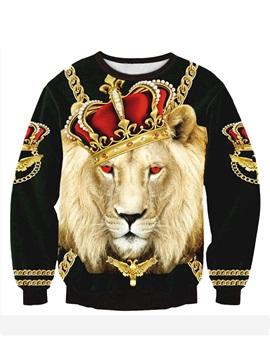 Long Sleeve Lion King Pattern 3D Painted Hoodie