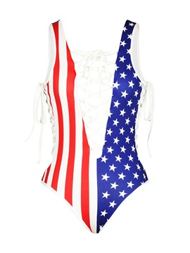 Sexy Lace Up America Flag Pattern One-piece 3D Painted Swimwear