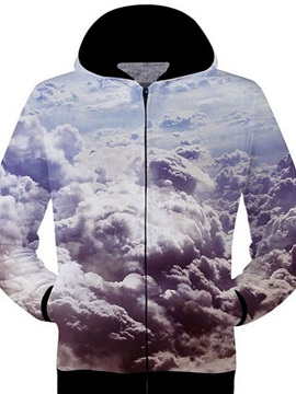 Unique Long Sleeve Zip-Front Cloud Pattern 3D Painted Hoodie
