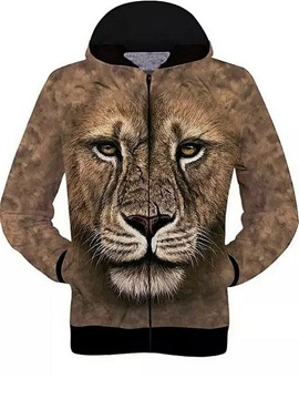 Long Sleeve 3D Painted Lion Face Pattern Zipper Hoodie for Men