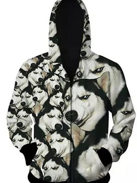 Popular Long Sleeve 3D Painted Husky Pattern Zipper Hoodie for Men