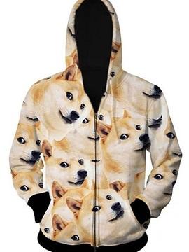 Popular Long Sleeve 3D Painted Dogs Pattern Zipper Hoodie