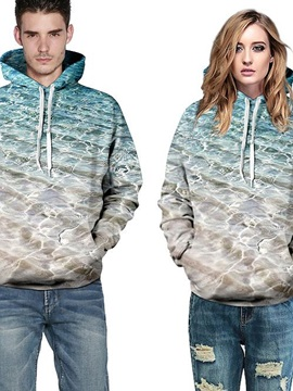 Super Long Sleeve Seawater Pattern 3D Painted Hoodie