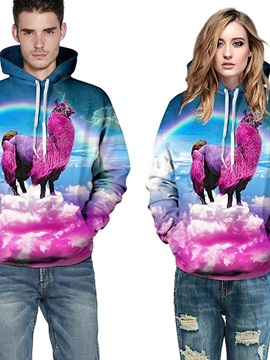 Long Sleeve Fushia Alpaca Animals Fashion Design Pattern 3D Painted Hoodie