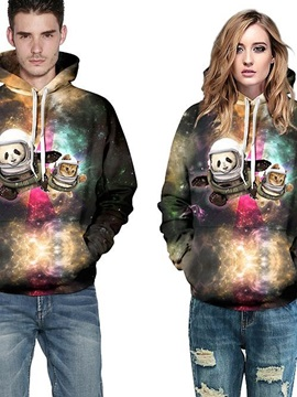 Super Long Sleeve Panda and Cat in Galaxy Pattern 3D Painted Hoodie