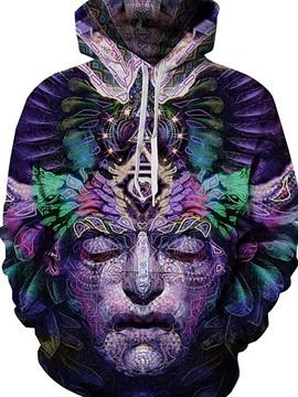 Unique Long Sleeve Stone Head Pattern 3D Painted Hoodie