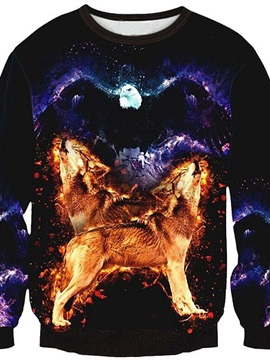 Fashion Long Sleeve Two Wolves Pattern 3D Painted Pullover Sweatshirt