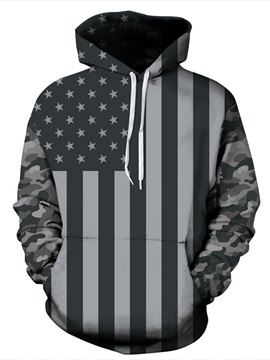 Fashion Long Sleeve Grey American Flag Pattern 3D Painted Hoodie