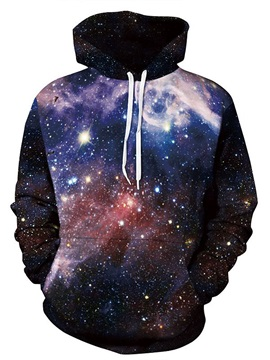 Fantastic Long Sleeve Starry Sky Pattern Black 3D Painted Hoodie