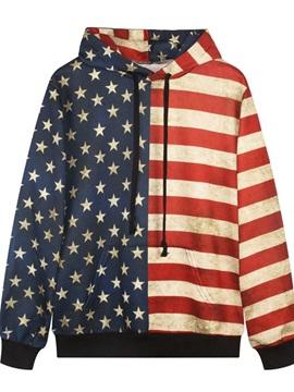 Long Sleeve American Flag Style Pattern Pocket 3D Painted Hoodie