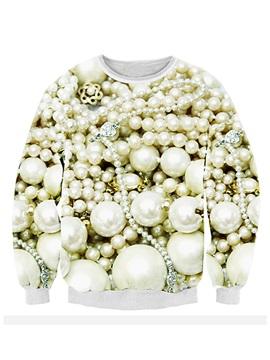 Popular Long Sleeve Pearl Pattern 3D Painted Hoodie