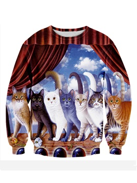 Cute Long Sleeve Cats Pattern 3D Painted Hoodie