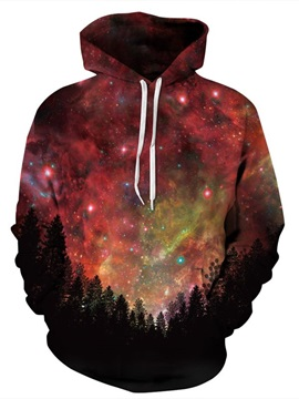 Long Sleeve Purplish Red Galaxy Pattern Pocket 3D Painted Hoodie