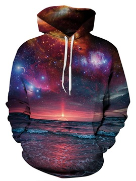 Long Sleeve Beautiful Seaside Landscape Pattern Sunset 3D Painted Hoodie