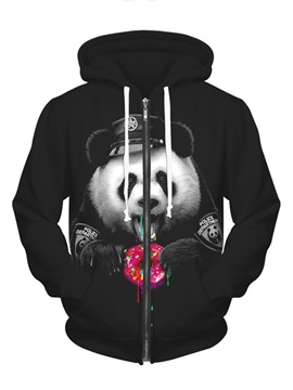 Long Sleeve Panda Pattern Black Pocket 3D Painted Hoodie