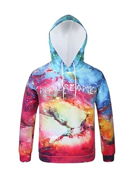 Fashion Multicolor Long Sleeve DIY Galaxy Pattern 3D Painted Hoodie