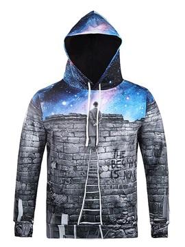 Long Sleeve Watching Sky Pattern Pocket 3D Painted Hoodie