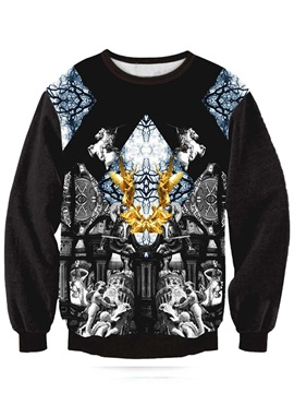 Long Sleeve Angle and Church Pattern Black 3D Painted Hoodie