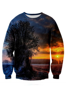 Super Long Sleeve Sunset Landscape Pattern 3D Painted Hoodie