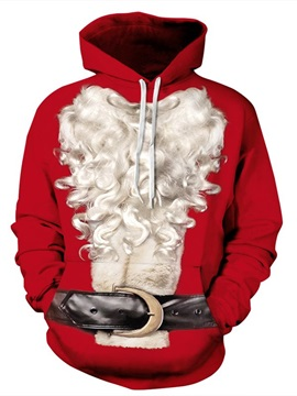 Christmas Style Long Sleeve Santa Claus Beard Pattern 3D Painted Hoodie