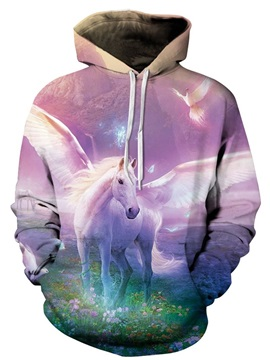 Long Sleeve Unicorn with Wing Pattern Pocket 3D Painted Hoodie