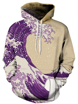 Super Long Sleeve Wave Pattern Pullover 3D Painted Hoodie
