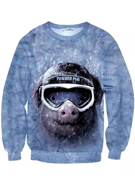 Long Sleeve Pilot Pig Pattern Inner Suede 3D Painted Hoodie
