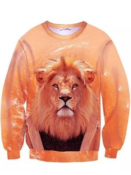 Stylish Long Sleeve Lion King Pattern Inner Suede 3D Painted Hoodie
