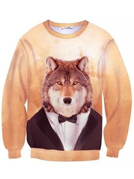 Long Sleeve Wolf in Cloth Pattern Inner Suede 3D Painted Hoodie