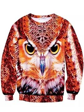 Special Long Sleeve Owl Pattern Inner Suede 3D Painted Hoodie
