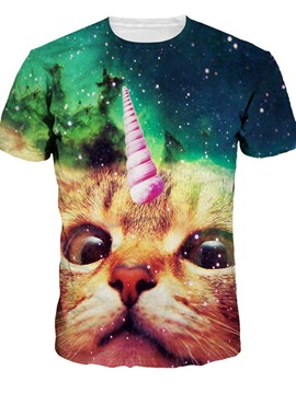 Unicorn Cat Face Pattern Personality Style Round Neck 3D Painted T-Shirt for Men&Women