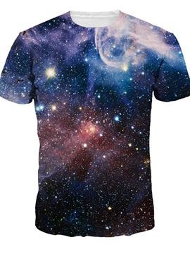 Round Neck Dark Purple Galaxy Pattern 3D Painted T-Shirt