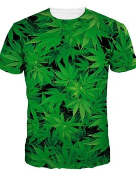Round Neck Leaves Pattern Green 3D Painted T-Shirt