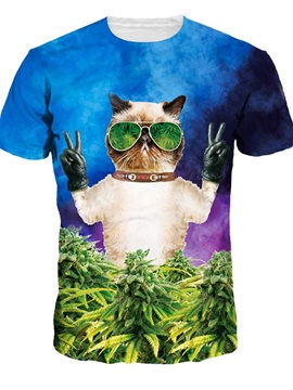 Modern Round Neck Cat with Glasses Pattern 3D Painted T-Shirt